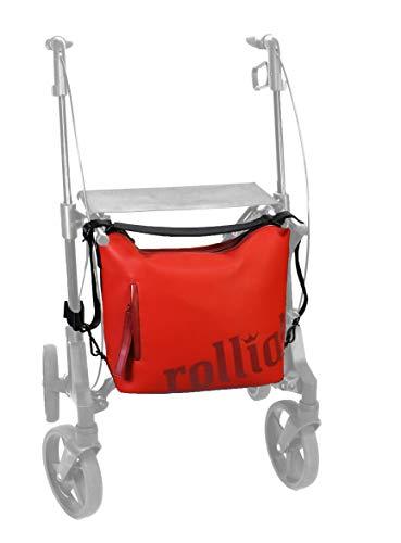 rollial, Modell Robin, Umhängetasche, Rucksack und universelle Rollator Rollstuhl Tasche, wetterfest, Zubehör Damen, rot