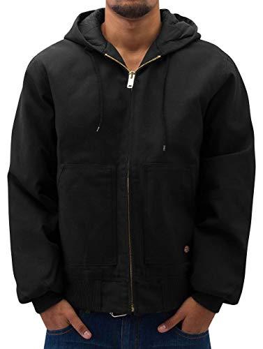 Dickies Men's Rigid Duck Hooded Jacket, Black, 2X