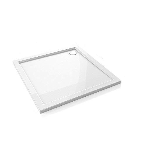 100x100x4 cm | Duschtasse Duschwanne Amrum01 aus Acryl inkl. Ablaufgarnitur AGD01 mit flexiblem Schlauch | in hochglanz weiß | Ablaufdurchmesser 90mm