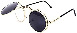Europe style sunglasses summer Metal steampunk round glaasses Clamshell Eyeglasses