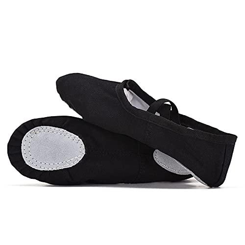AGYE Zapatillas de Ballet Canvas, Zapatos de Ballet Niño,Zapatillas de Lona para Mujer,Black-25