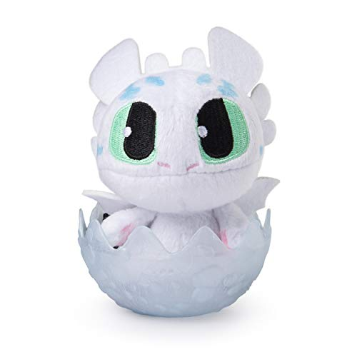 Dreamworks Dragons, Baby Fury (White) 3' Squeezable Plush in Hatching Egg, for Kids Aged 4 & Up