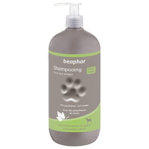 BEAPHAR – Shampoing premium doux tous pelages pour chien – Aux extraits naturels de réglisse & de protéines de blé – Nourrit, pelage sain et brillant – pH neutre & sans parben – 750ml