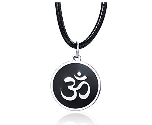 VNOX Acero Inoxidable Indio Yoga AUM Om Ohm Collar Amuleto Colgante Collar Talismán Collar de Regalo Joyería para Hombres Mujeres
