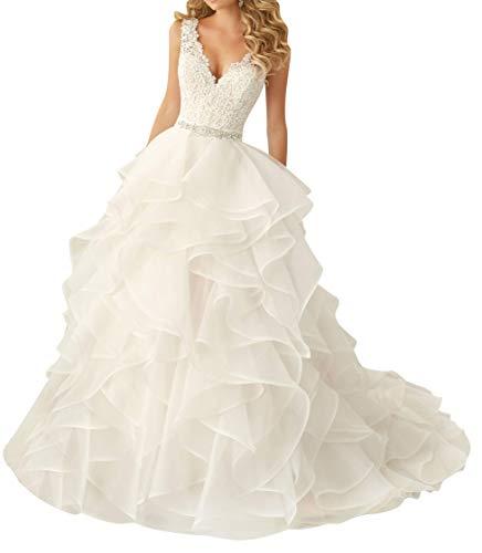 DUMOO Brautkleider Organza Spitze V-Ausschnitt Perlen Hochzeitskleider Brautkleid Lang Abendkleider Elfenbein EUR40