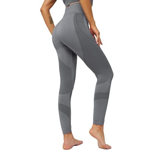 QTJY Pantalones de Yoga con Levantamiento de Cadera de Cintura Alta Medias de Fitness sin Costuras para Mujer Push up Jogging Pantalones de chándal Negros con Mecha Delgada CM