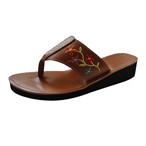 Yuanjay Women Summer Flat Shoes Large Size Print Slip on Sandals Non-Slip Quick Drying Open Toe Slides Slippers Brown 39