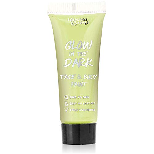Glow in the Dark Face and Body Paint - Party, Costume and Halloween Makeup - Safe for All Skin Types - Easy On and Off - 0.34oz - by Splashes & Spills (Makeup That Goes With A White Dress)