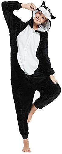 Pijama Kigurumis para adulto, unisex, disfraz de animales, conjunto de pijama de unicornio, panda, pingüino, (Licornio Rosa, Grande (165-175 cm) Negro S