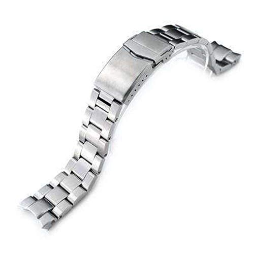 Strapcode 20mm Super 3D Oyster Watch Band for Seiko Alpinist SARB017, Brushed, V-Clasp Button Double Lock