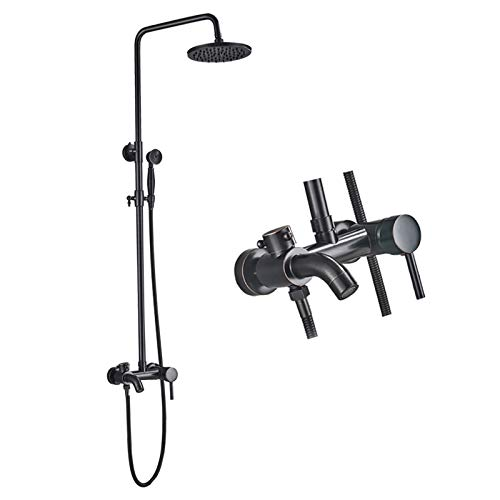 Rozin Duschset Regen Duschsystem mit Handbrause Badewanne Öl eingerieben Bronze Schwarz Duschsystem höhenverstellbar 80~120cm