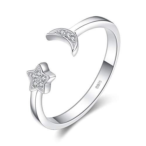 JewelryPalace Moon Star Cubic Zirconia Open Adjustable Rings, White Gold Plated 925 Sterling Silver Rings for Women, Simulated Diamond Cuff Finger Thumb Band Ring, Girls Womens Jewellery Gifts