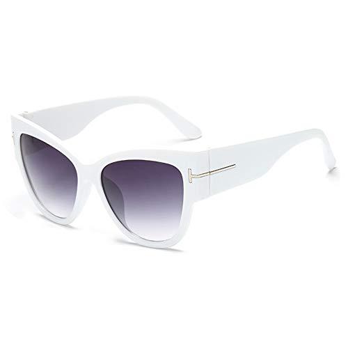 WDDYYBF Zonnebril, Casual Mode Persoonlijkheid Trend Retro Grote Doos Zonnebrillenkat Oogzonnebril Dames Zonnebril Uv400 Wit Frame Grijze Lens