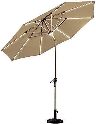 ROM - Sombrilla de jardín al Aire Libre, 9 pies, sombrilla Solar para Patio, sombrilla al Aire Libre iluminada con Mecanismo de inclinación y manivela, para jardín, balcón, pa
