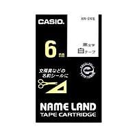 (まとめ) カシオ(CASIO) ネームランド エコテープカートリッジ 白に黒文字 6mm 【×5セット】 ds-1642630