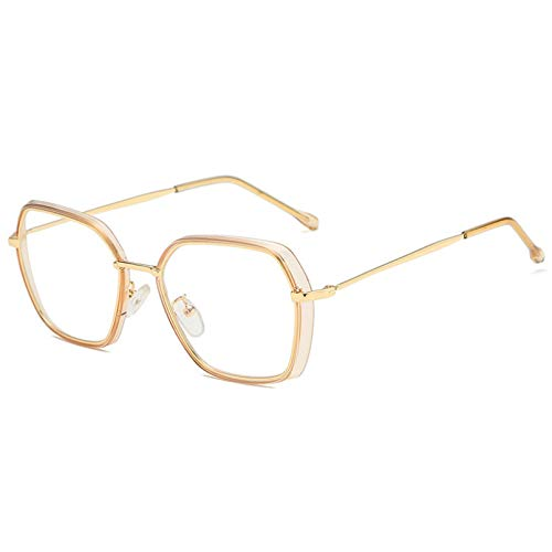 N/A Gafas de Sol para Hombre Gafas de Sol para Mujer, Espejos Planos Irregulares con Montura Grande, Gafas de miopía con Personalidad de Moda, Montura de Gafas Anti-radiación Azul