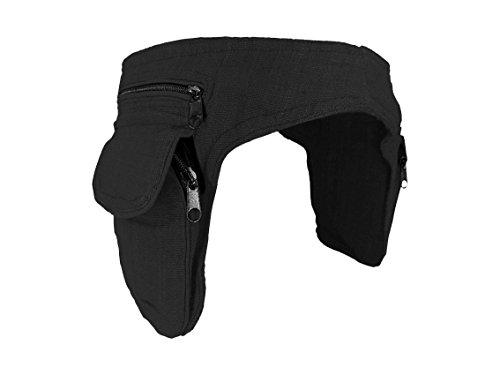 Bolso cadera negro - dos bolsillos - algodón - cierre