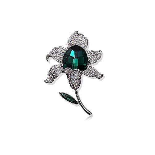 ZWSHOP Broche de cristal de estilo europeo y americano, diseo multiusos, para mujer, bufanda de seda, hebilla, chal, caja de regalo, 6,4 x 4,5 cm (color: verde)