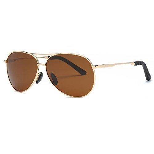 kimorn Polarizado Gafas De Sol Hombre Estilo Piloto Marco De Metal Unisexo Lentes K0583 (Oro&Marrón)