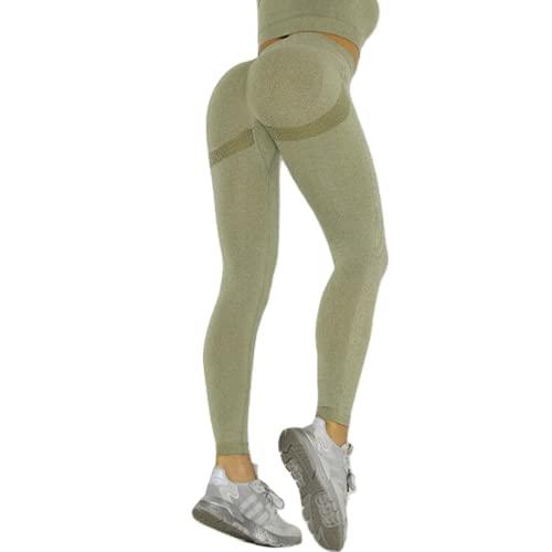 Leggings sin Costuras de Cintura Alta Push up Sexy Deportes Fitness Correr Pantalones de Yoga Pantalones elásticos de energía Leggings de Gimnasio A L