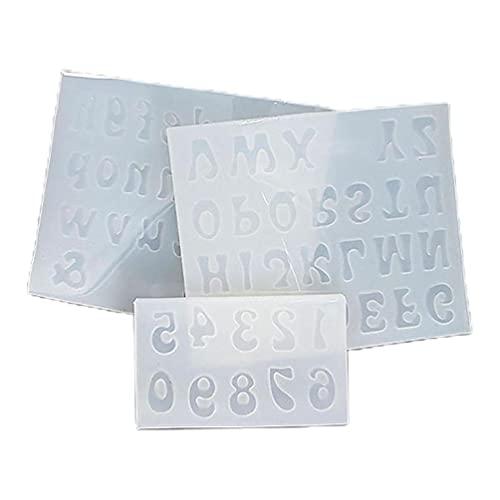 3 unids/set mini letras moldes de resina de silicona número alfabeto epoxi molde de fundición 3 unids/set mini letras moldes de resina