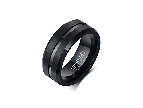 VNOX Men's 8mm Tungsten Carbide Ring with Polished Groove Matte Finish Beveled Edge Wedding Band,Christmas Day Gift for Him