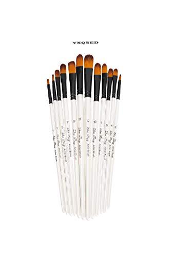 YXQSED Set de 12 Piezas de Pinceles para Pintura de Acuarela y Óleo de Acrílico,Cepillo de Acuarela Agua Plumas de Arte Cepillo de Pintura Dibujo, Diseño y Manualidades (Cepillo de pintura Filbert)