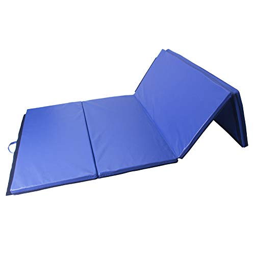 Polar Aurora 4'x10'x2 Thick Folding Gymnastics Exercise Mat Aerobics Stretching Yoga Mats (Blue)