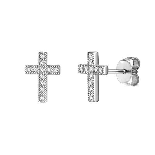 Silvora 925 Plata Pendientes de Cruz hipoalergénicos Diamantes Artificiales CZ Pendientes para Hombre y Mujer Gratis caja de regalo…
