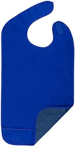 Adult Bib for Eating Waterproof Clothing Protector with Crumb Catcher Machine Washable Royal product image
