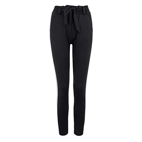 Zarupeng Damen Lose Jogginghose Cargo Hosen Hohe Taille Pluderhosen Elastische Taille Streifen Beiläufige Hosen