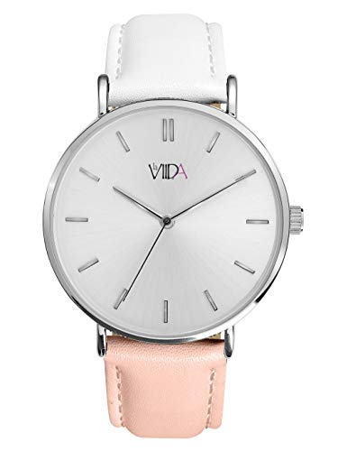 LaViida wvi2026s Vienna–Reloj de Pulsera de Piel Acero Inoxidable 3Bar Analog Color Rosa