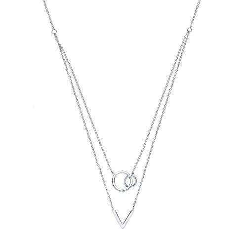 Jewelco London Ladies Rhodium Plated Sterling Silver # Chinese Linking Rings Double Drop Necklace