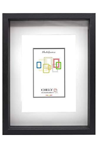 Chely Intermarket | 7D2F | Marcos con Profundidad A4 (Medida Interior de paspartú 15x22cm) (Negro) | MOD-3503| El Marco Queda al Nivel de la Pared.(3503-A4-0,70)