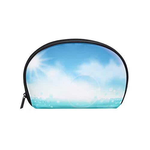Trousse de maquillage avec fermeture à glissière pour le sac d'embrayage Sunshine Rainbow Ocean Travel Pochette de rangement Carré pour les femmes dame