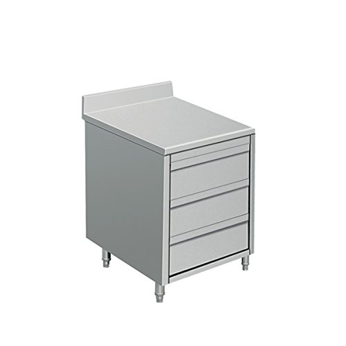EQ Kitchen Line Stainless Steel Commercial 3-Drawer Wheeled Cabinet, 19.7'L x 27.6'W x 33.5'H