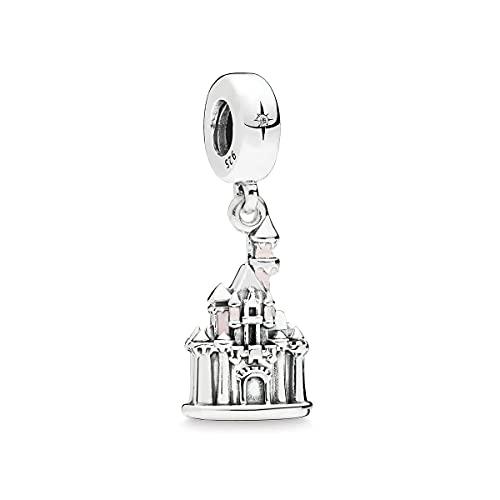 Pandora 925 Colgante de plata esterlina Diy Cuentas de plata esterlina Charm Pink Castle Esmalte Colgante Charm Fit Pandora Pulseras originales Collares Joyería de las mujeres