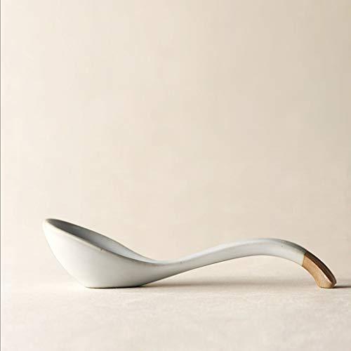 YITIANTIAN Teaspoons Japanese Style Handmade Ceramic Spoon Retro Eating Small Spoon Dessert Coffee Spoons (Color : 1 pack)