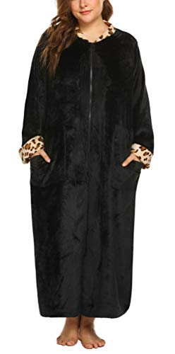 Women's Plus Size Soft Warm Stand Collar Leopard Trim Half/Full Zip-Front Bathrobe Fleece Gown with Pockets Black