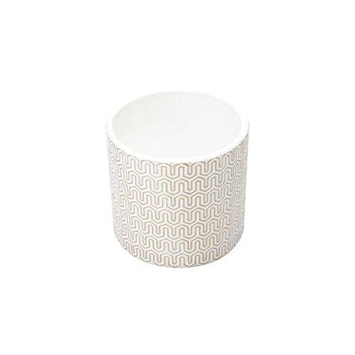 Vaso de Cerâmica Geo Forms Urban Branco/Dourado