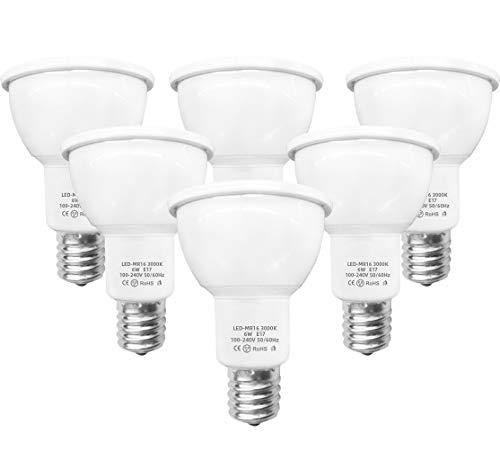 Anting LEDスポットライト E17口金5W 電球色3000K 430ml LED電球 ビーム球形 ハロゲンランプ40W相当 6個パック