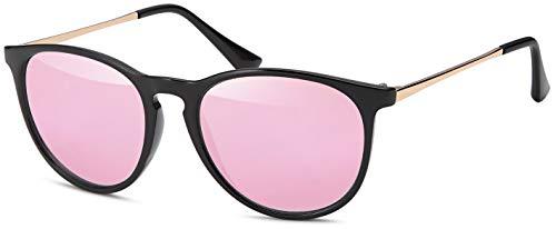 styleBREAKER Sonnenbrille mit großen ovalen Gläsern und Metall Bügel, Damen 09020085, Farbe:Gestell Schwarz / Glas Pink verspiegelt