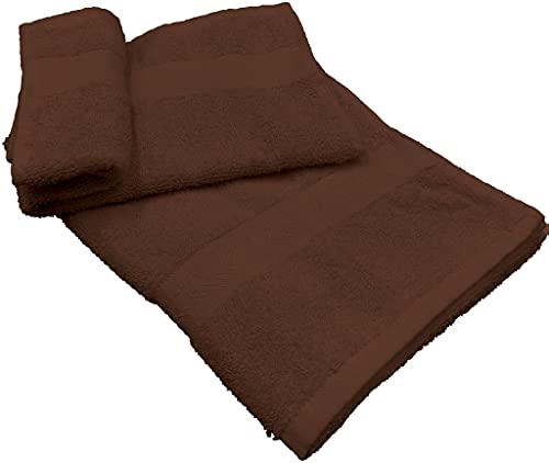 Juego de 1 + 1 toalla pequeña para invitados de 40 x 60 cm y toalla grande de 60 x 100 cm para manos, cara, lavabo, bidé, cara, pelo, cuerpo, de suave rizo de algodón (marrón oscuro)