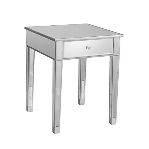 Mirage Mirrored Accent Table - Mirror Surface w/ Silver Trim - Glam Style