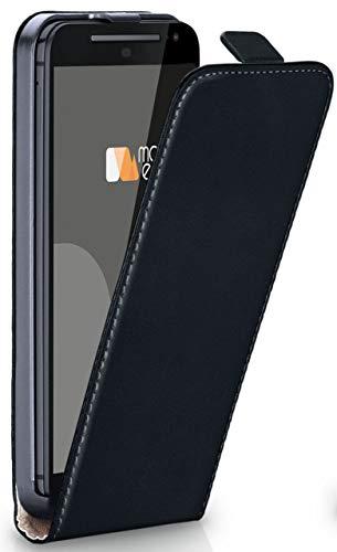 moex Flip Case für Motorola Moto G2 - Hülle klappbar, 360 Grad Klapphülle aus Vegan Leder, Handytasche mit vertikaler Klappe, magnetisch - Schwarz