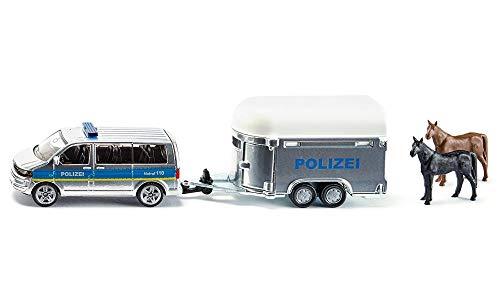 Siku B00029D150 2310, Polizei-PKW mit Pferdeanhänger, Inkl. 2 Spielzeug-Pferden, 1:55, Metall/Kunststoff, Silber/Blau, Abkoppelbarer Anhänger