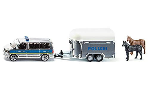 siku 2310 Coche de policía con remolque para caballos, Incl. 2 caballos de juguete, Remolque desmontable, 1:55, Metal/Plástico, Plateado/Azul
