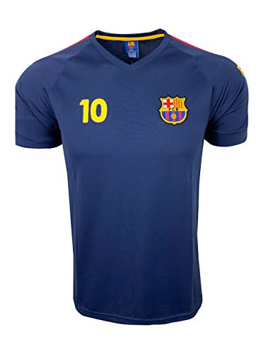 Lionel Messi Jersey #10 - Barcelona Official Product Jersey with The Signature, Name and Number of Messi (Youth X-Large, Navy)