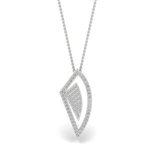 ASHNE JEWELS Collar de cadena con colgante de oro blanco sólido de 14 quilates con diamantes de forma redonda naturales para mujer