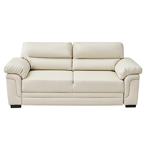 Panana Italian Style Faux Leather Sofa 3 Seater Corner Sofa Modern Sofa Settee Couch Seat Padded Sofa for Living Room Office Lounge (Cream - 3 Seater)